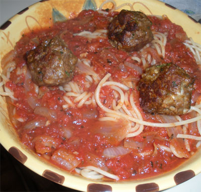 spaghetti and vegetarian meatballs.
