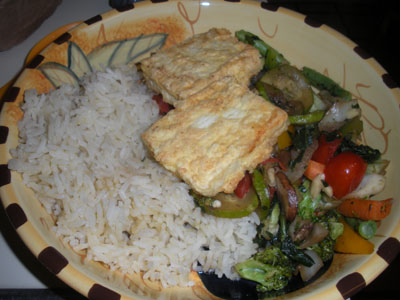 Fried tofu with veggies and rice