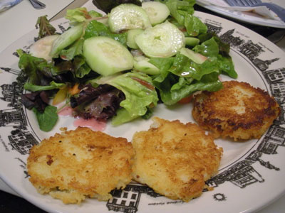Potato cakes and salad